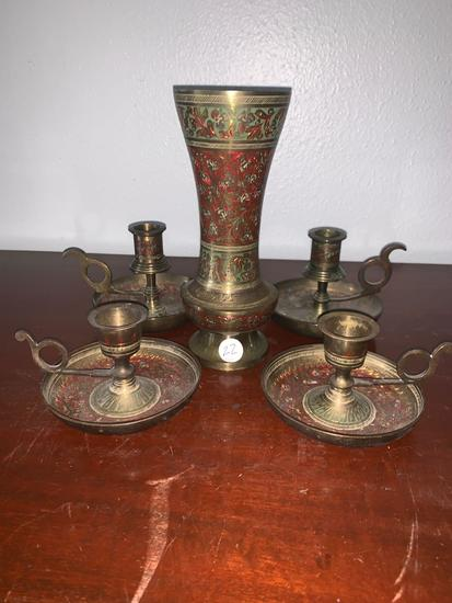 Brass Five-piece Candle-holder and flower vase set