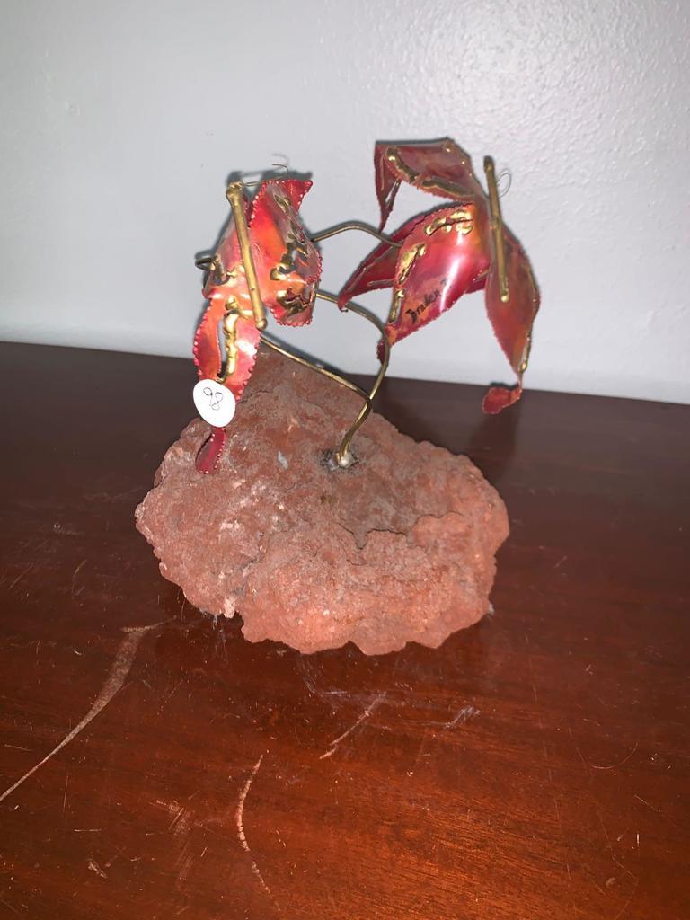 Volcanic Rock, Brass and Metal Art Piece