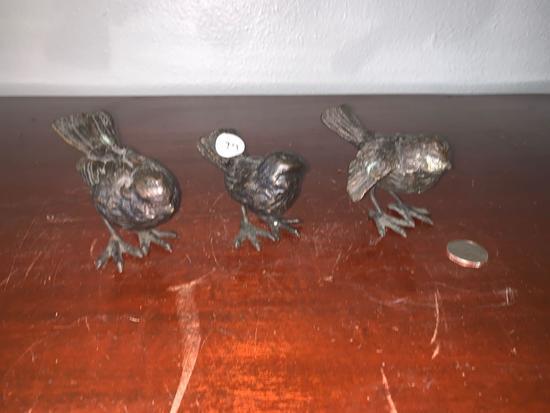 Set Of Three Bronze Bird Statuettes