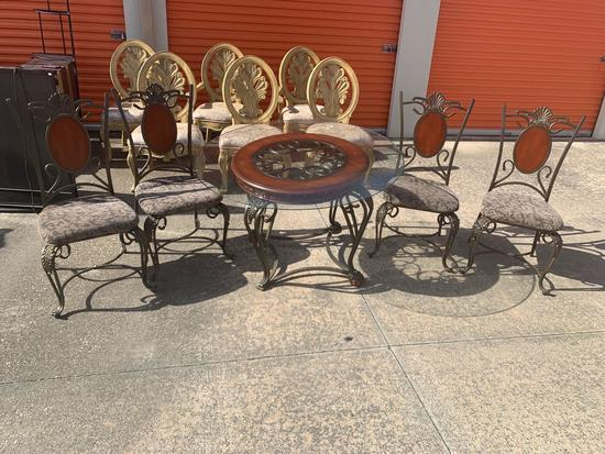 Glass and iron dinette set