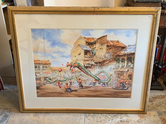 Shing Woon Kai watercolor in frame signed
