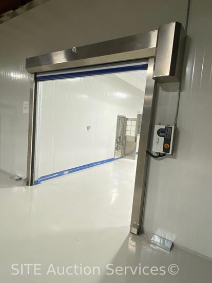 Electric, 8x8 ft opening, stainless component, motion sensor commercial door