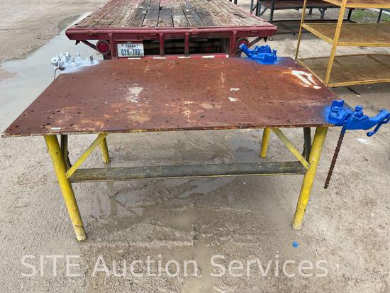 Shop Table with Ridgid Screw Bench Chain Vises