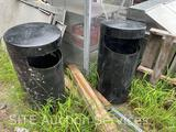 Qty of 2 Metal Outdoor Garbage Can