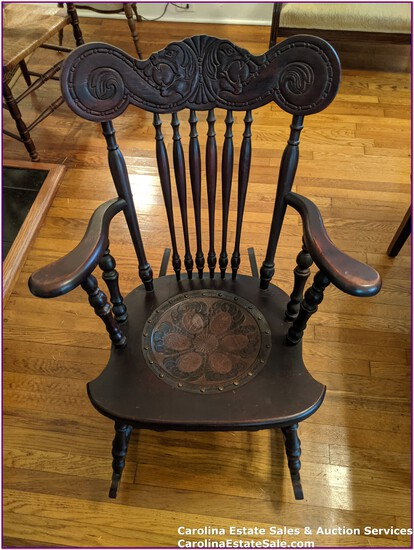 Antique Rocker, Leather Inlay