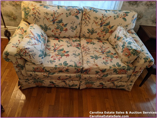 Love Seat, Floral and Bird Fabric