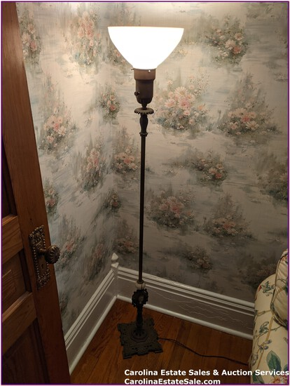 Antique Metal Floor Lamp with Cameo Inlay at base of stand, works