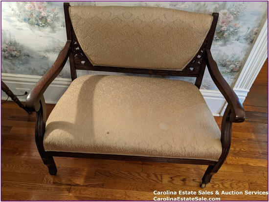 Antique Double Seated Hall Chair w/casters