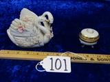 Vtg Mid Century Porcelain Trinket Boxes