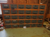 Very Nice Work Shop Cabinet W/ 30 Drawers And Contents ( Pick Up Only )