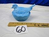 Vtg And Rare Heisey Blue Milk Glass Bird On Nest