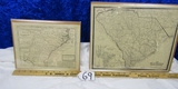 2 Vtg Reproduction Maps Of