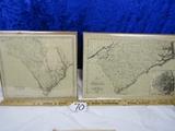2 Vtg Reproduction Maps Of South Carolina And North And South Carolina
