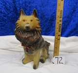 Vtg Chalkware Statue Of A Collie Dog