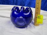 Vtg Cobalt Blue Rose Bowl W/ Etched Flowers