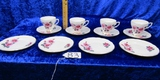 Royal Sutherland ( England ) Service For 4: Cup, Saucer And Snack Plate