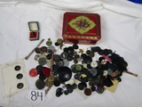 Vtg Buttons And Other Miscellaneous Smalls In A Vtg Tin