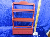 Vtg Solid Wood Spice Wall Rack W/ 2 Drawers