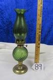 Vtg Green Glass And Brass Oil Lamp