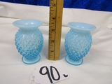 Matching Pair Of Small Fenton Blue Hobnail Glass Vases