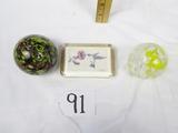 3 Vtg Art Glass Paperweights