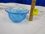Vtg L E Smith Blue Glass Bowl