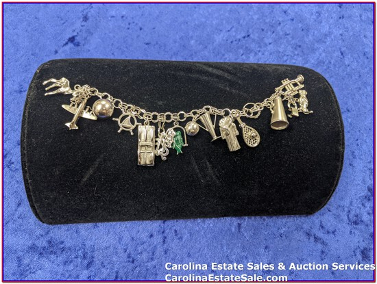 """Charm Bracelet (Stamped Sterling Approx Size: 7"""") and Charms - some are stamped sterling"""