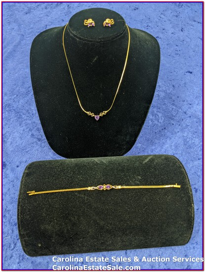 """14K Gold Necklace (Approx Size: 16""""), 14k Gold Bracelet (Approx 7""""), and 14k Gold Earrings"""