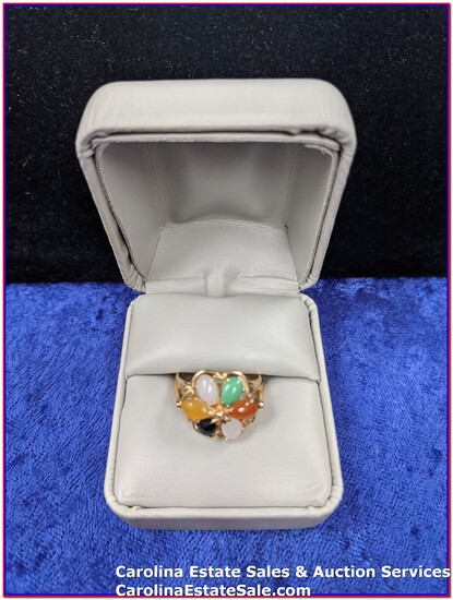 14K Gold Ring with Stones (Approx Size: 7.25)