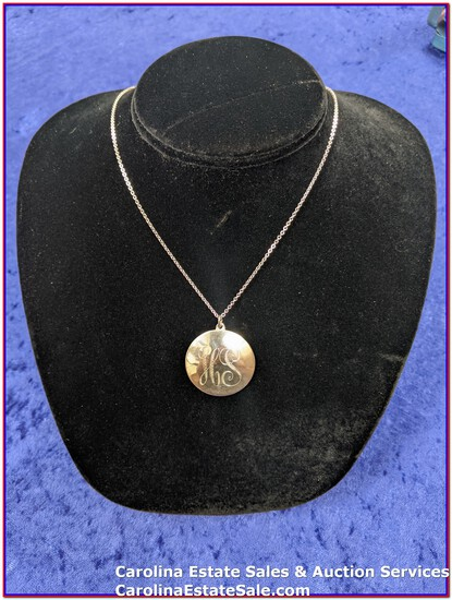 """Sterling Pendant with initials """"HS"""" & Sterling Chain (Approx Size: 18"""")"""