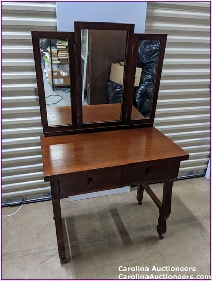 2 Drawer Antique Dresser & 3 Tier Mirror on Casters