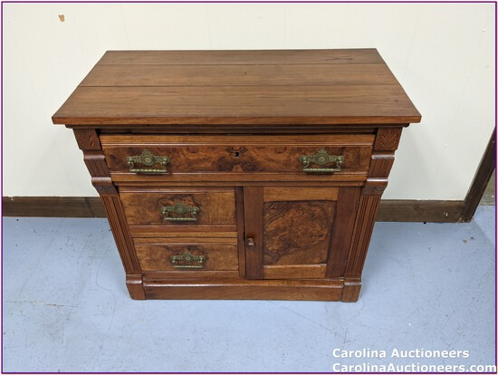 Antique Victorian Dry Sink with Burl Wood