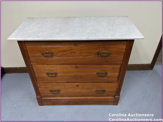 Antique 3 Drawer Dresser with Marble Top