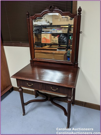 Antique 2 Drawer Dresser with Caster Wheels