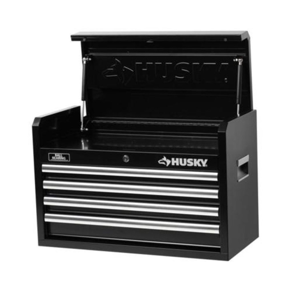 Husky 26 in. W 4-Drawer Tool Chest, Black, $274.85 Est. Retail Value