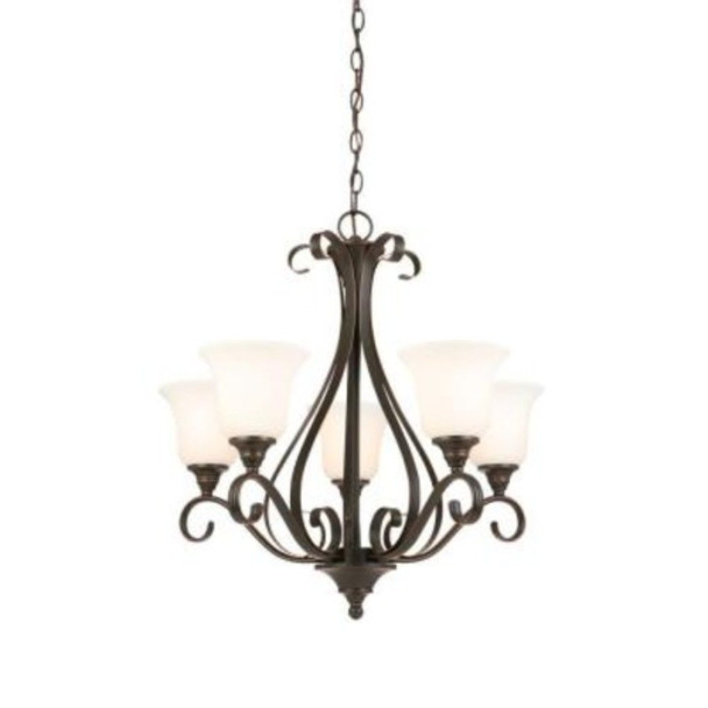 Hampton Bay 5 Light Oil Rubbed Bronze Chandelier With Frosted White Glass Shades