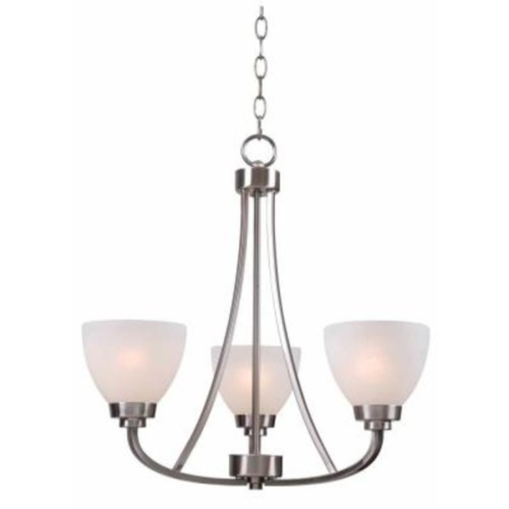 Hampton Bay Hastings 3 Light Brushed Steel Chandelier With White Glass Shades 131 10 Erv