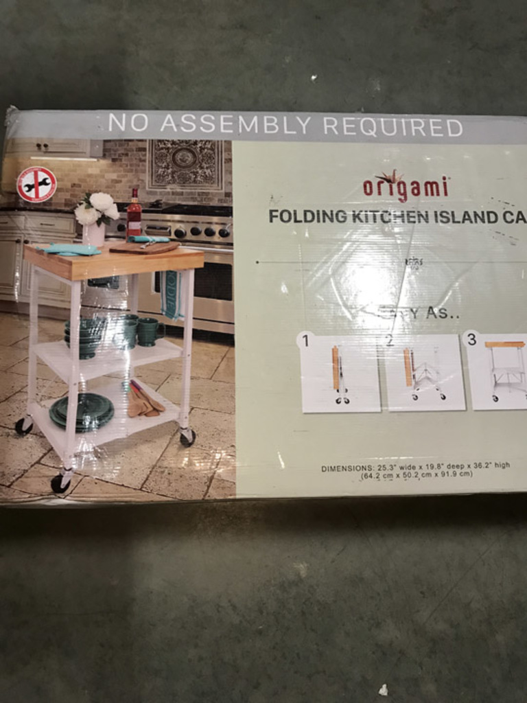 Lot: Origami Foldable Kitchen Island Cart. $172.49 ERV ...