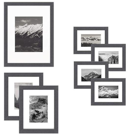 Picture Frames Gallery Set Kit - Black Wood Set of 7 Frames,$29 MSRP