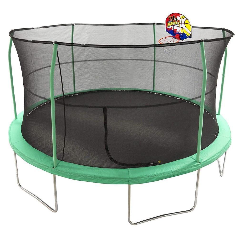JumpKing 15' Bounce N' Dunk Trampoline & Enclosure Combo with Basketball Hoop Green - $350.33 MSRP