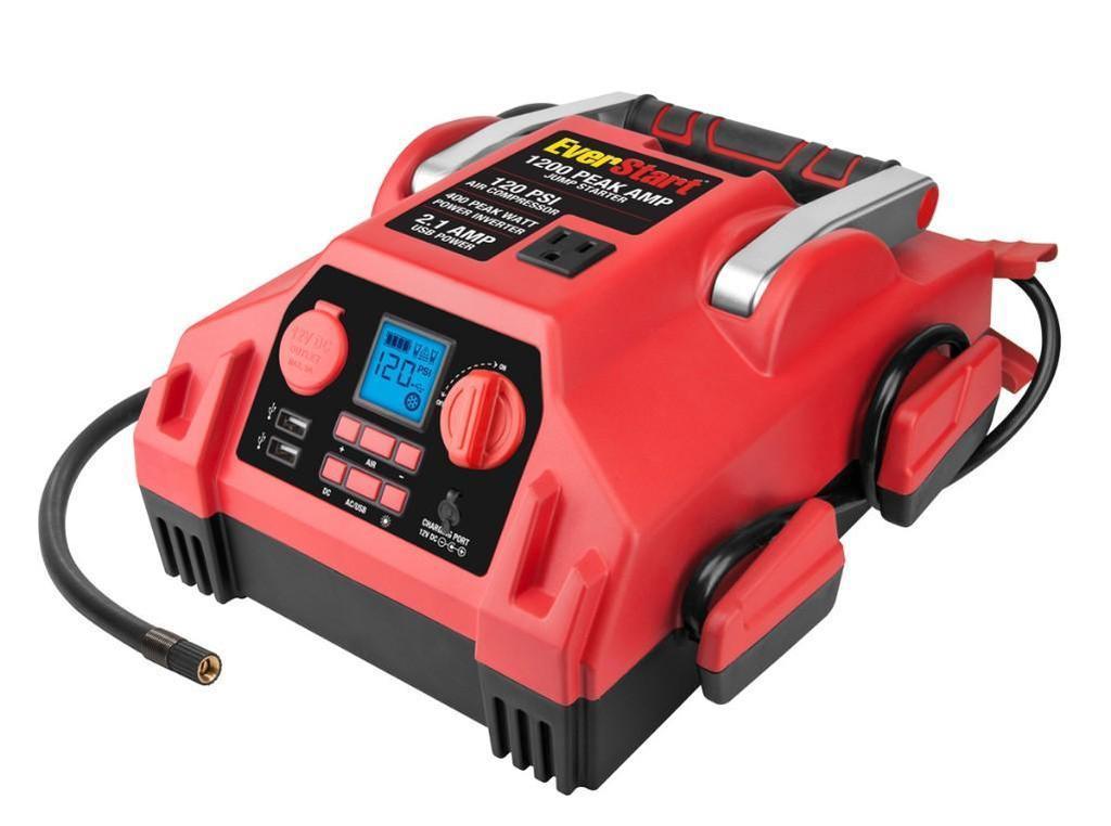 Everstart 600/1200A Jump Starter w/ 120 PSI Compressor & Inverter (J45TKE) $80.00 MSRP