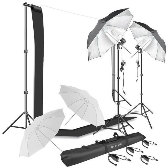 HYJ-Inc Photography Umbrella Continuous Lighting Kit,Muslin Backdrop Kit $79.99 MSRP