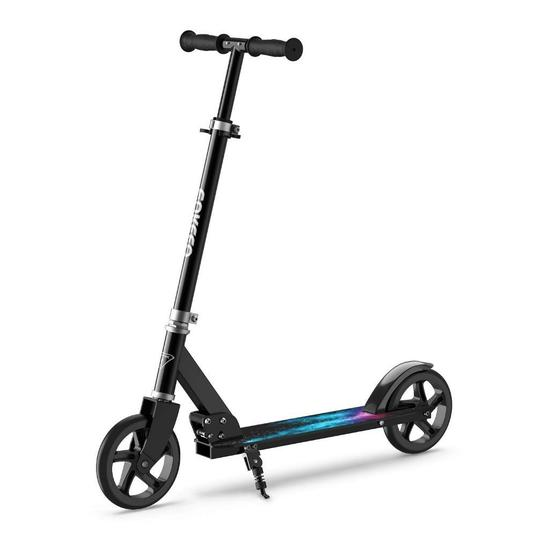 Enkeeo Kick Scooter with 220 lbs Capacity, Height Adjustable Handlebar and Oversized Wheels