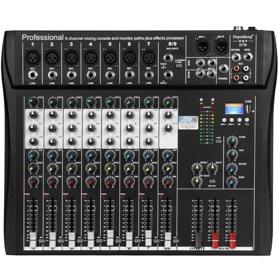 Depusheng DT8 Professional 8 Channel DJ Sound Mixing Console with Bluetooth $99.00 MSRP