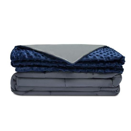 Weighted Blanket & Removable Cover (Grey/Navy Blue)