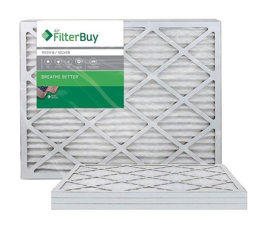 FilterBuy AFB MERV 8 20x25x1 Pleated AC Furnace Air Filter, (Pack of 4 Filters),Silver - $29.88 MSRP