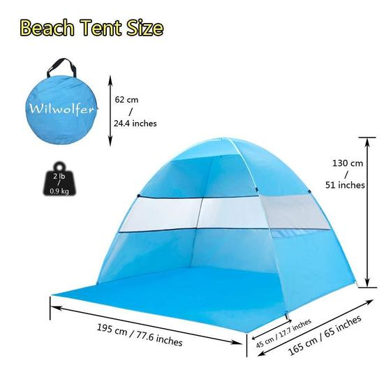 Wilwolfer Beach Tent Sun Shelter Pop Up Tents - $23.95 MSRP