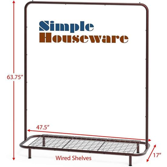 Simple Houseware Industrial Pipe Clothing Garment Rack w/ Bottom Shelves, Bronze - $35.87 MSRP