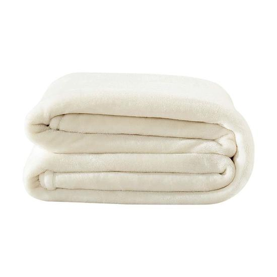 Flannel Fleece Blanket Soft Throw Blanket (Cream)