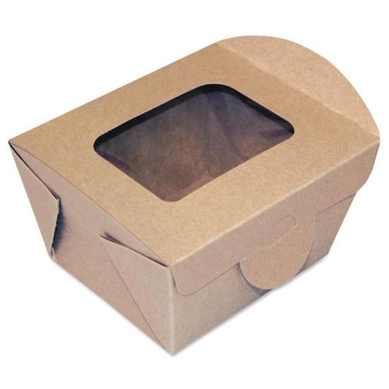 Dixie FF4X3X3 Windowed Food Container Kraft